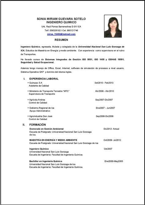 Modelo De Curriculum Vitae Peru 2015 Para Llenar Curriculum Vitae Curriculum Vitae Ingeniero