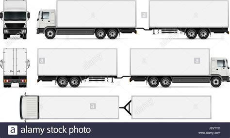 Trailer Truck Template For Car Branding And Advertising Isolated Stock Vector Art Trailer Templates Free