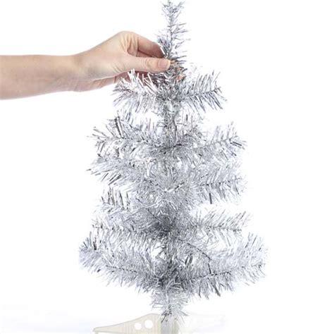 retro silver tinsel christmas tree anniversary 25th