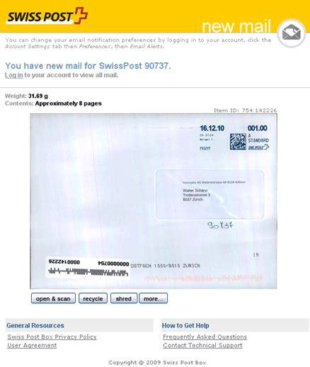 Schweiz Brief A Post e post office briefe erhalten oder weiterleiten