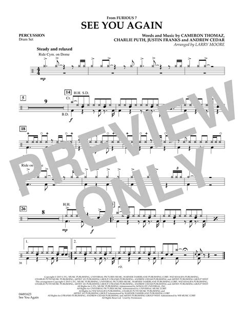 drum pattern for see you again sheet music digital files to print licensed wiz khalifa