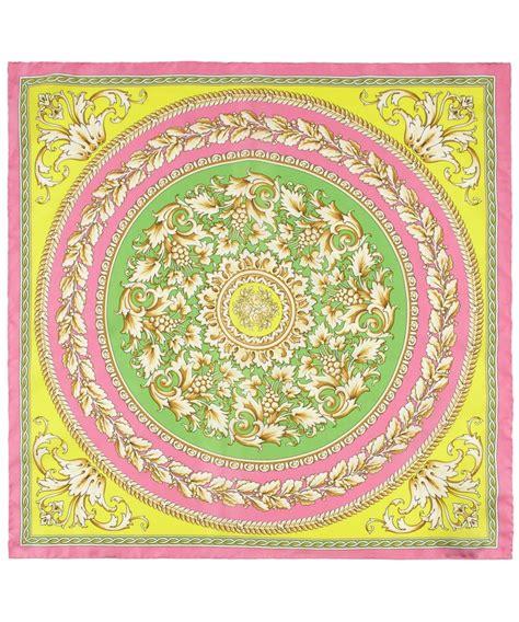 versace pattern fabric pink circle leaf baroque print silk scarf versace