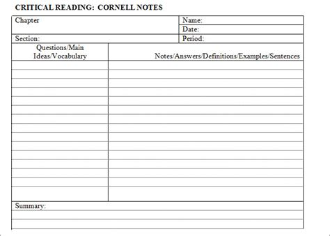 note card template word 2011 cornell notes template 51 free word pdf format