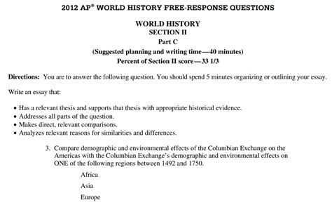 Ap World History Columbian Exchange Essay by World History Advanced Placement With Mr Duez Agenda Week Of January 4 8 2015