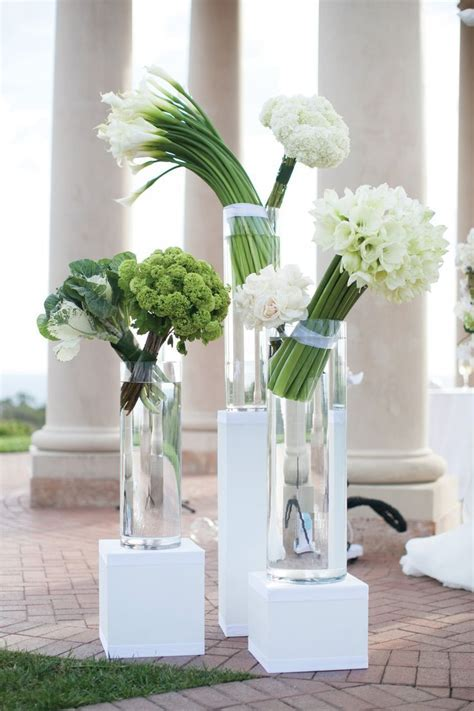 Modern Green and White Ceremony Arrangements   #