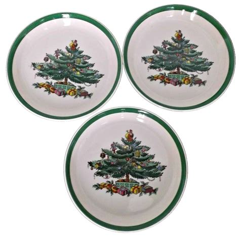 three vintage spode christmas tree coasters from