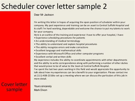 Energy Scheduler Cover Letter by Scheduler Cover Letter