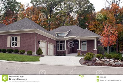 how big is a two car garage luxury house in autumn stock photo image 45565426