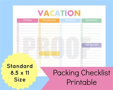 travel list template printable packing checklist printable packing list for
