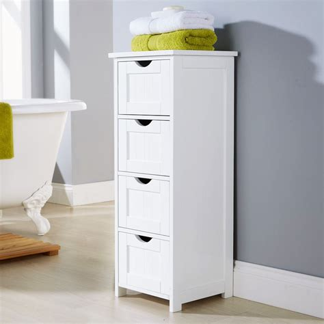 White Multi Use Bathroom Storage Unit 4 Drawer Cabinet Counter Bathroom Storage