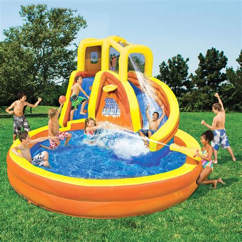 backyard water toys banzai typhoon twist water slide