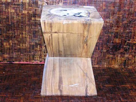Decorative Homes Square Wooden Garden Stool With Petrified Wood Inlay Aw