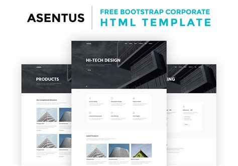 asentus free bootstrap corporate html template graphicsfuel