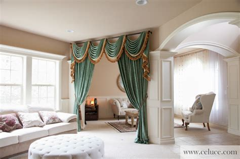 green chenille swag valance curtains modern living