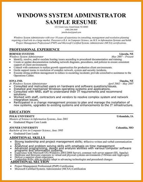 sle windows system administrator resume 28 images junior network administrator sle resume 28