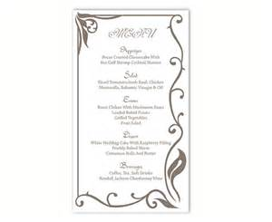 free printable menu cards templates wedding menu template diy menu card template editable text