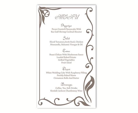 free wedding menu template for word wedding menu template diy menu card template editable text word file instant