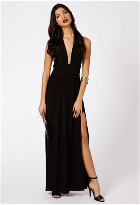 Dress Alda by Alda Slinky Halterneck Maxi Dress In Black Dresses