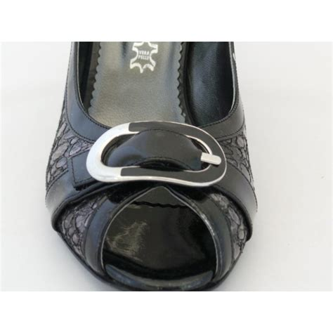 9815s black grey patent peep toe court shoe from