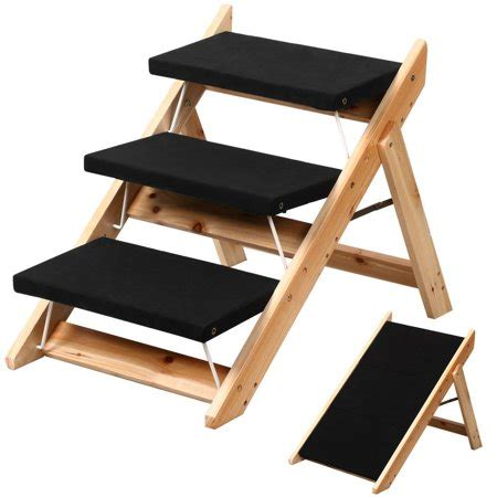 Folding Step Stool For Dogs by Yaheetech Wood Pet Stairs R Cat Animal Folding
