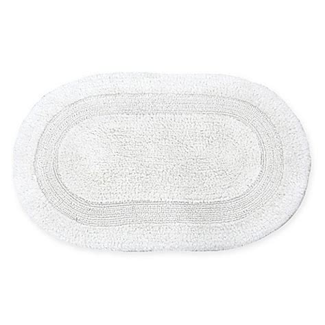 Oval Bathroom Rugs Buy Visaaj Reversible 21 Inch X 34 Inch Oval Bath Rug In White From Bed Bath Beyond