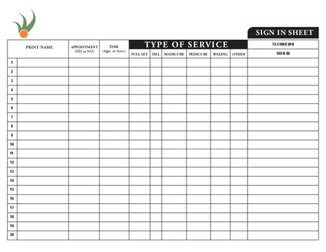 nail salon sign in sheet template same day flyer