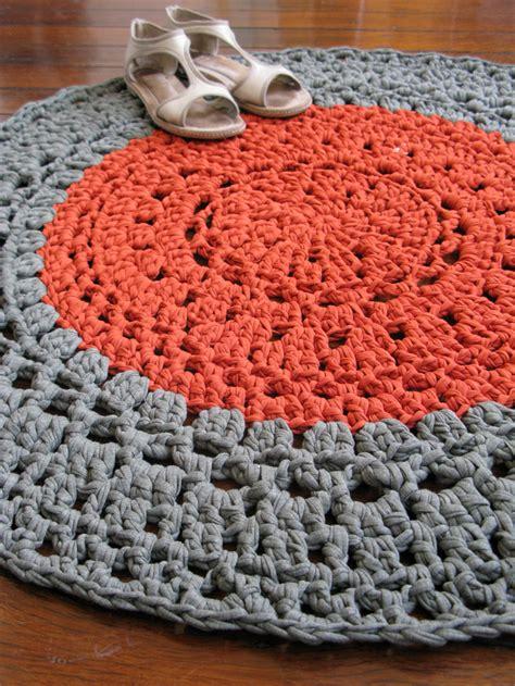 Crochet Tshirt Yarn Rug by Khaki Copper Crochet Rug Mat T Shirt Yarn Chompa