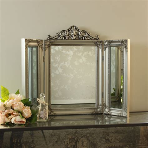 Silver Vanity Table With Mirror And Bench Silver Resin Ornate Dressing Table Mirror Shabby Chic Bedroom Home Ebay