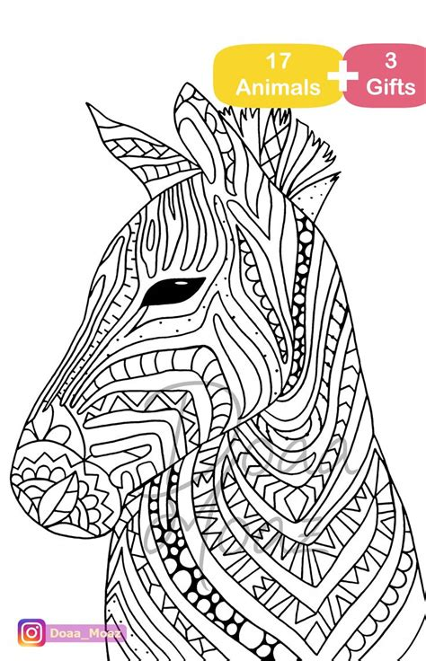 adult coloring book  animals coloring pages