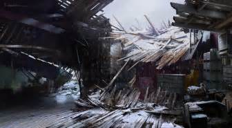collapsed shack interior video games artwork