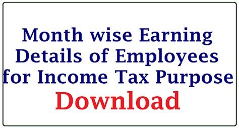section wise details of income tax download month wise earning details for income tax purpose