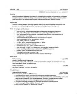 resume template for application sle web developer resume 7 free documents