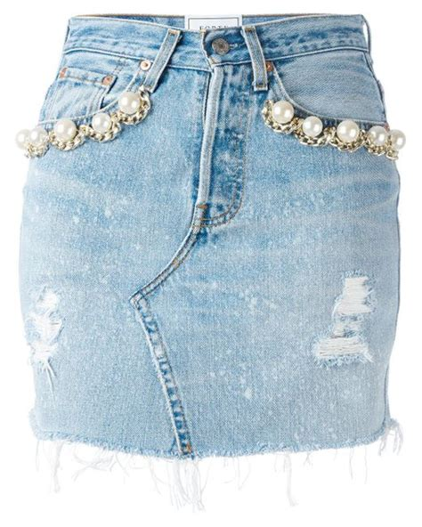 forte couture pearl embellished denim skirt in blue lyst