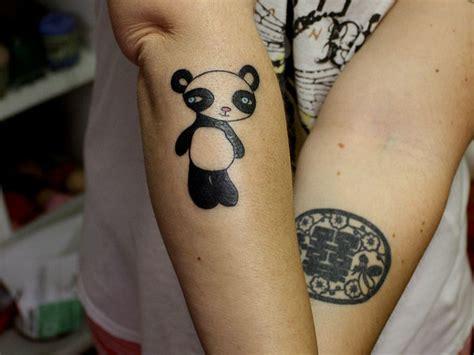 cute forearm tattoos baby panda on forearm