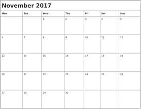 Calendar By Month November 2017 Month Calendar