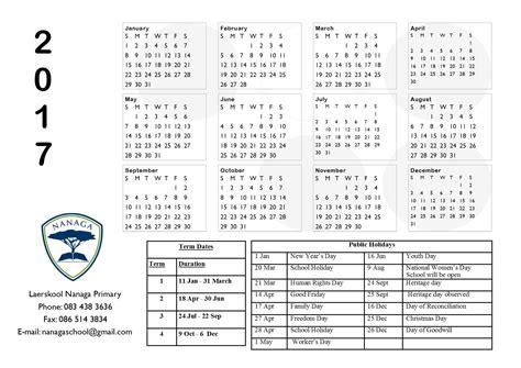 Term Calendar 2017 Term Calendar Laerskool Nanaga Primary