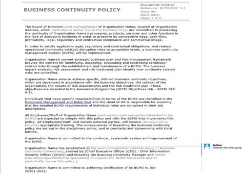 business continuity policy template how to write an iso 22301 compliant business continuity