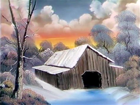 bob ross painting barns a pen by grovejay