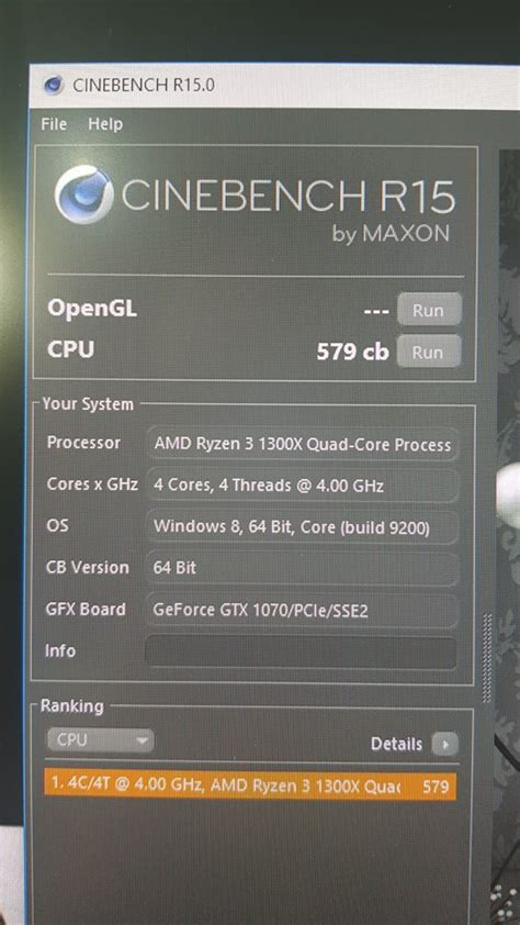 cing bench ryzen 1300x 4 0 ghz cinebench scores amd