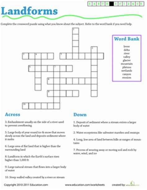 Earth Science Worksheets by Earth Science Crossword Landforms Worksheet Education
