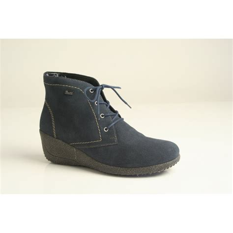 rieker rieker blue suede leather lace up wedge with