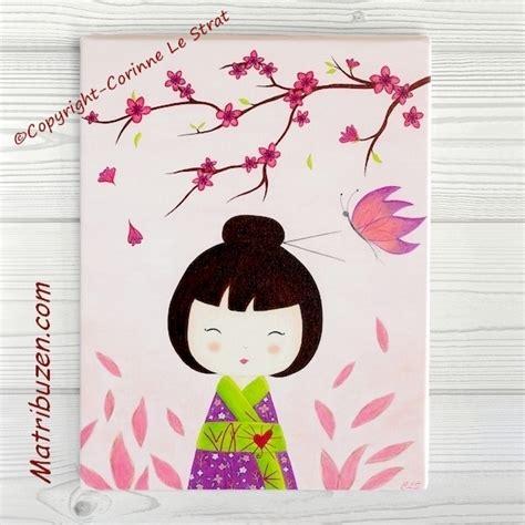tableaux chambre enfant tableau enfant kokeshi quot aiko et papillon quot d 233 coration