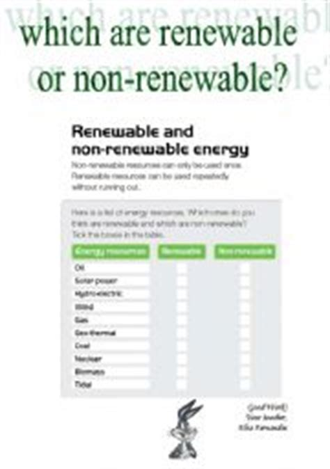 Renewable And Nonrenewable Resources Worksheet by Renewable Or Non Renewable Energies