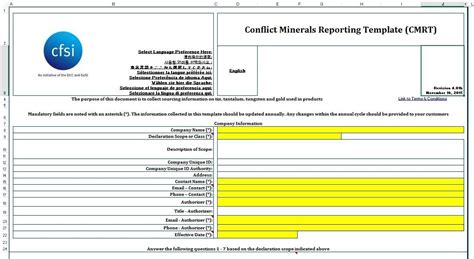 conflict minerals reporting template template design