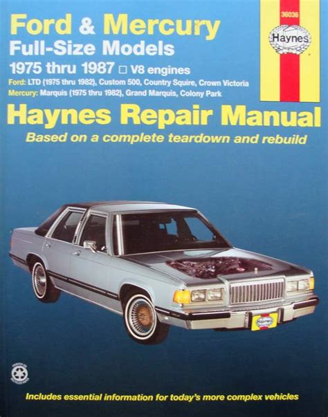 electric and cars manual 1987 mercury grand marquis regenerative braking boek haynes repair manual ford and mercury full size 197