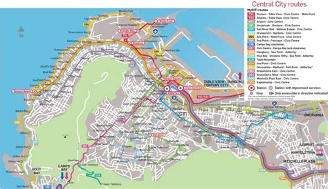 cape town south africa map cape town city center transport map