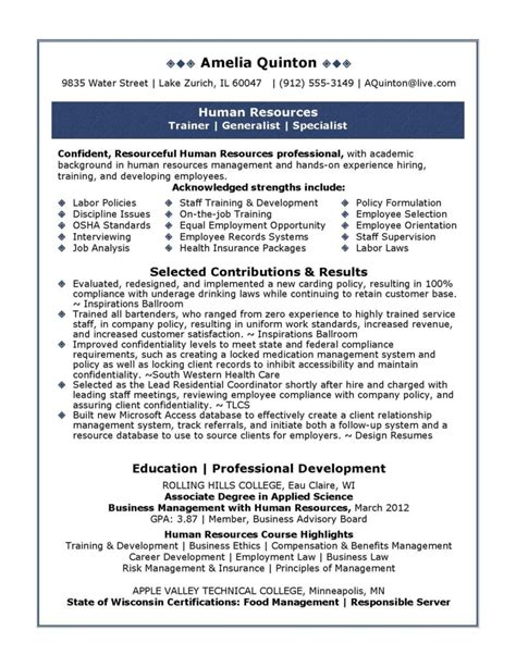 Best Resume Model For Freshers by Best Human Resources Manager Resume Example