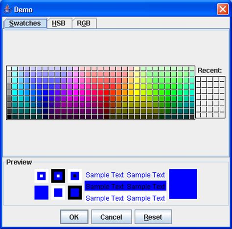 colors in java swing a quick test of the jcolorchooser dialog color chooser