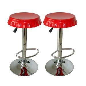 Soda Shop Bar Stools by Amerihome Retro Style 32 In Soda Cap Bar Stool In Set Of 2 Bs107set The Home Depot