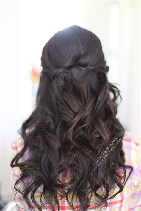 half up half down asian hairstyles hair loose waves curls half up half down wedding hair prom